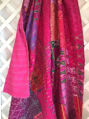 "Kantha Throw, VINTAGE SILK - ""Bouganvillia"""