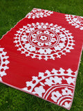 Outdoor Mat - Flora - red and white  150x240cm