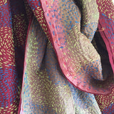 Silk Scarf - Seal and Burgundy with a pink edge and yellow stitching 1F