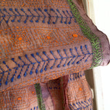 "Silk Scarf - ""Indie"" - natural silk with unusual blue, green and orange stitching 1C"