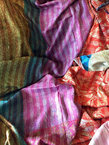 Kantha Throw, VINTAGE SILK - 'ABHA""