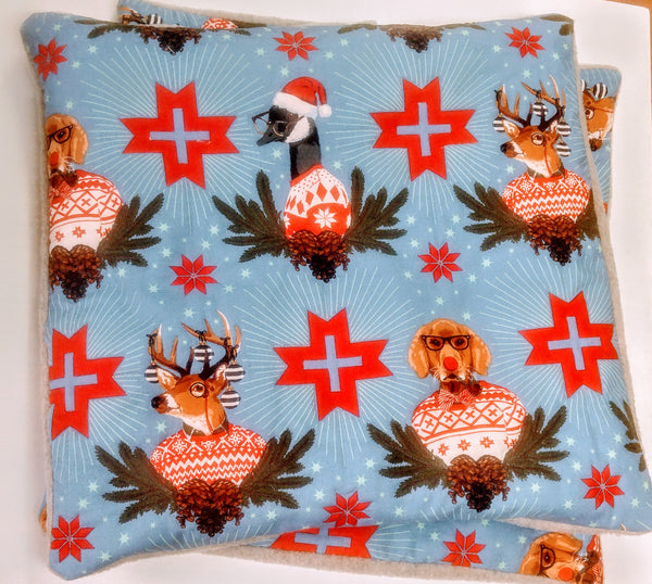 Holiday Homies Quilted Christmas Cushion Covers - Set of Two