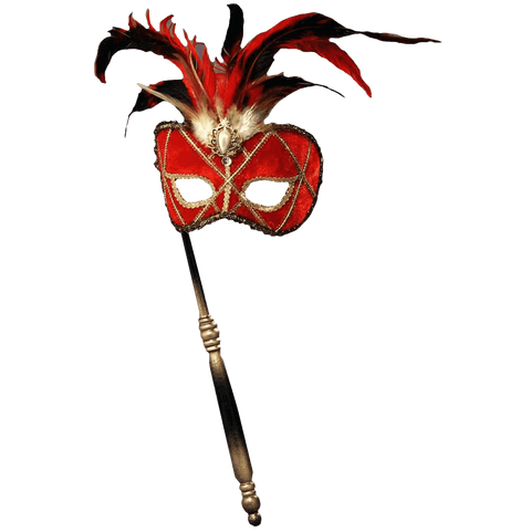 Forum Novelties Women's Feather Masquerade Mask with Holding Stick