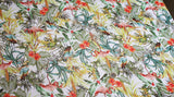 Coupon tissu crèpe voile polyester tropical flamand rose