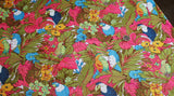 Coupon tissu mousseline polyester tropical perroquet toucan 3 mètres