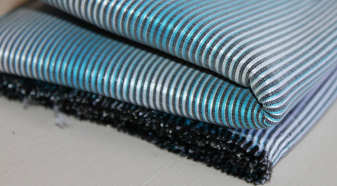 Coupon tissu popeline polyester polyamide rayé turquoise