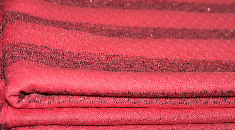 Coupon tissu maille tricot fin rose corail acrylique polyester lurex