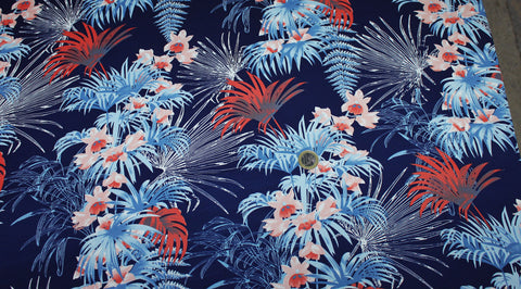 Coupon tissu crèpe polyester marine fleur tropicale