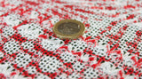 Coupon tissu maille tricot polyester viscose à motif rouge et blanc
