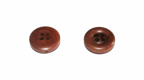 Bouton polyester imitation bois marron 4 trous 26 mm