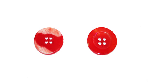 Bouton nacre rouge coquelicot 4 trous 22 mm