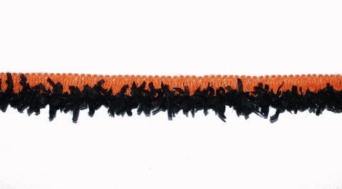 galon fantaisie orange et noir lurex
