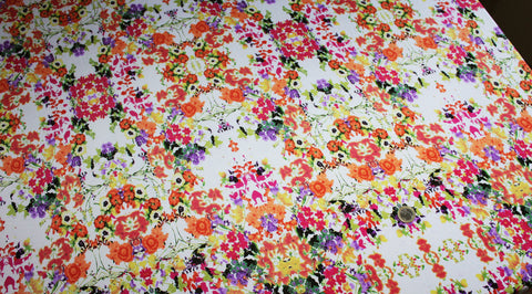 Coupon tissu jersey polyester blanc floral