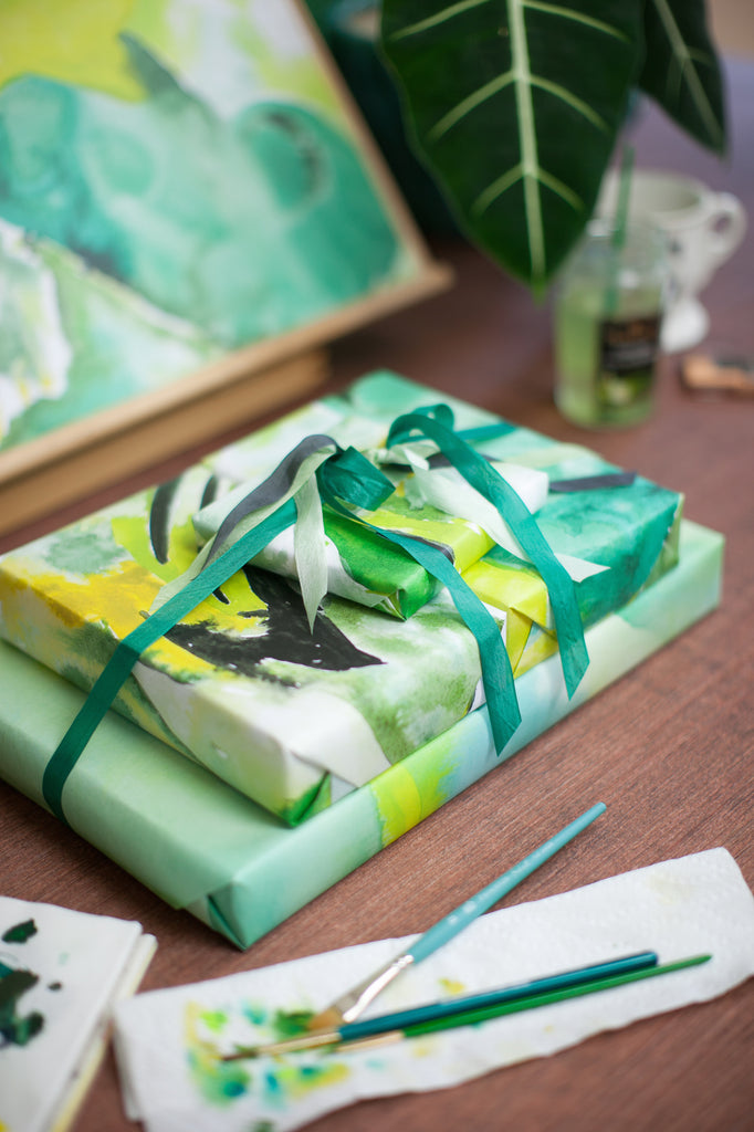 Emerald abstract wrapping paper by Revel & Co.