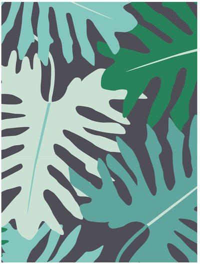 Big tropical leaves monochromatic tropical gift wrap by Revel & Co.
