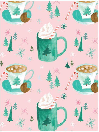 Cozy hot cocoa drinks Christmas gift wrap by Revel & Co.