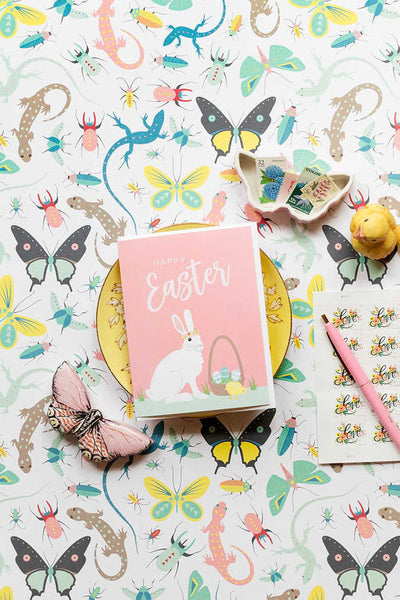 Easter card with white hare rabbit by REVEL & Co.