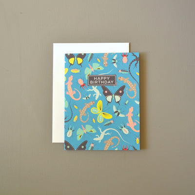 Lizards and bugs masculine birthday card by Revel & Co.