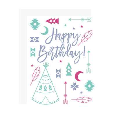 Southwestern Birthday Card with TeePees and Tribal Motif, by REVEL & Co.