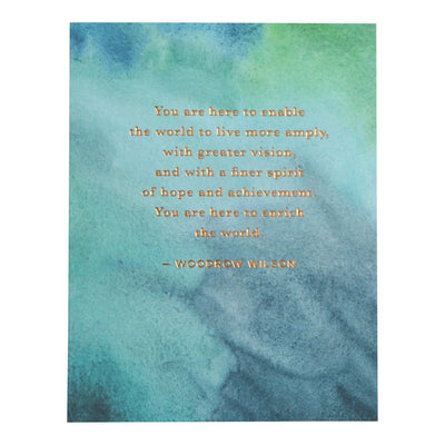 Literary card with Woodrow Wilson quote on watercolor abstract background by REVEL & Co.