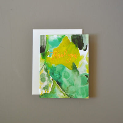 Green watercolor abstract foil thank you card by Revel & Co.