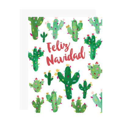Feliz Navidad Christmas card with watercolor saguaro cactus, by REVEL & Co.