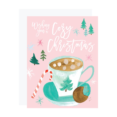 Wishing you a cozy Christmas. Pink Christmas card with watercolor hot cocoa drinks by REVEL & Co.