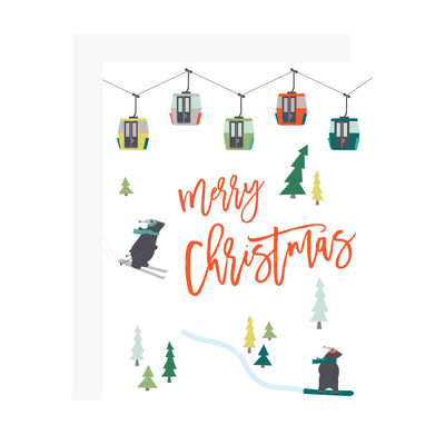 Christmas card with skiing and snowboarding bears, by REVEL & Co.