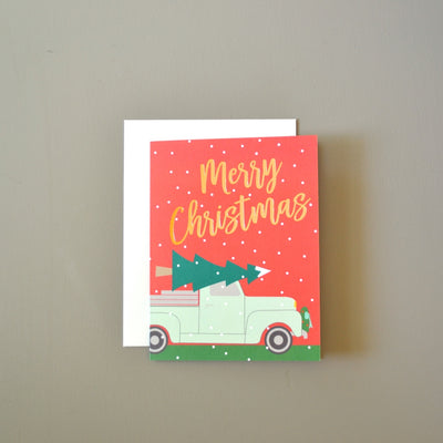 Festive Trucks Foil Christmas Card by Revel & Co.