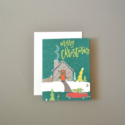 Stone Cabin Christmas Card by Revel & Co.