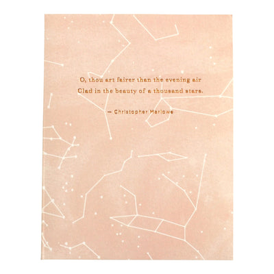 "Literary love card ""O, thou art fairer than the evening air clad in the beauty of a thousand stars"" by REVEL & Co."