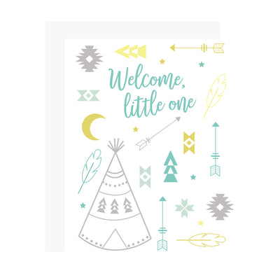 Welcome, little one. Tribal motif card for new baby with teepees, arrows and feathers, by REVEL & Co.