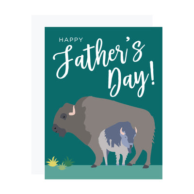 Father's day card with buffalo on green background, by REVEL & Co.