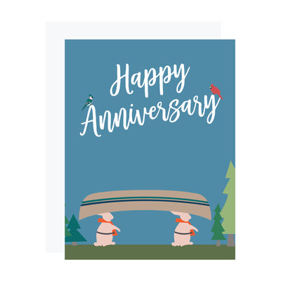 Anniversary card with two hares and a canoe by REVEL & Co.
