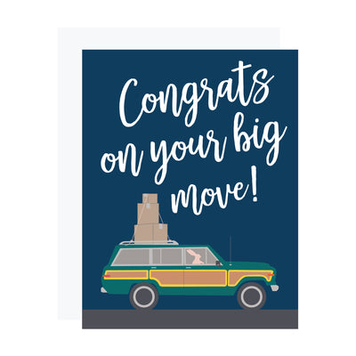 Congrats on your big move with woody wagon. Moving card by REVEL & Co.