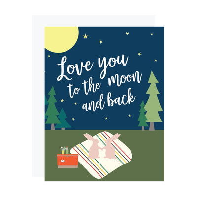 Love you to the moon and back card by REVEL & Co. for Valentine's day or anniversary