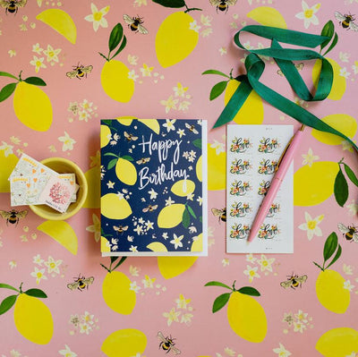 Lemons and honey bees birthday card by REVEL & Co.