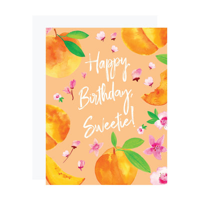 Peaches and peach blossoms birthday card by REVEL & Co.
