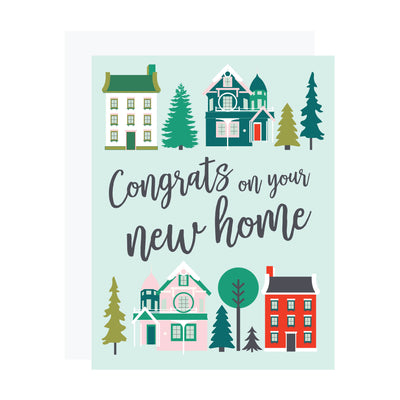 House warming card by REVEL & Co. featuring classic Victorian houses and evergreen trees