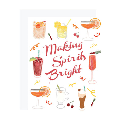 Making Spirits Bright Christmas card with cocktails by REVEL & Co.