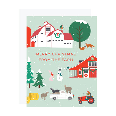 Christmas card with farm, barn, goats, tractor, rooster. REVEL & Co.