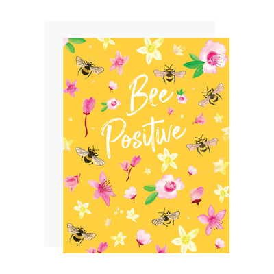 Bee Positive encouragement card by REVEL & Co. with honey bees and blossoms
