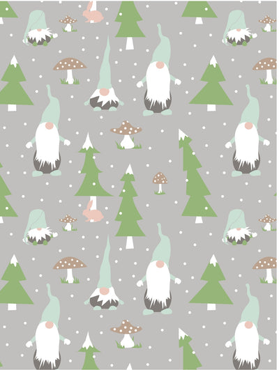 Scandinavian Christmas wrapping paper with Tomte Gnomes by Revel & Co.