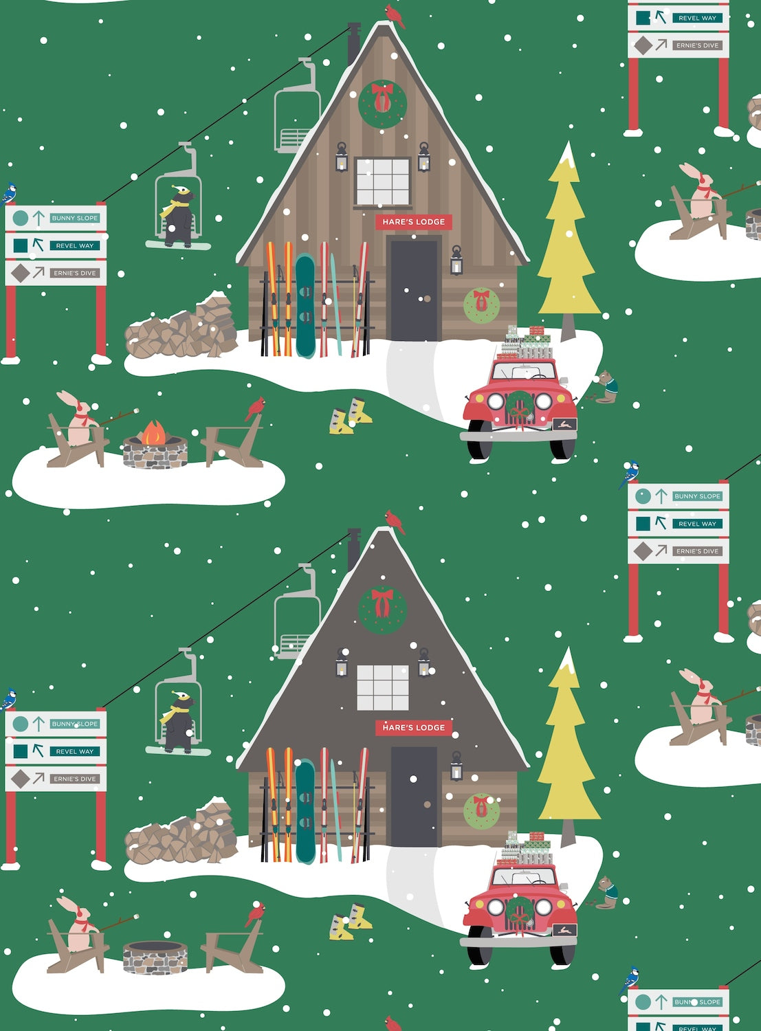 Ski Chalet Whimsical Christmas wrapping paper by Revel & Co.