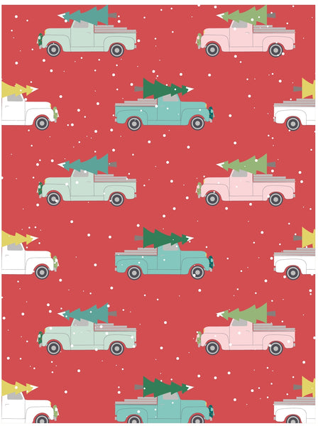 Vintage trucks and Christmas trees holiday gift wrap by Revel & Co.