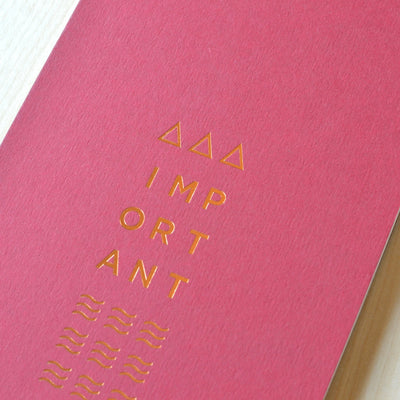 Red and copper foil notebook. Revel Paper for the modern desk