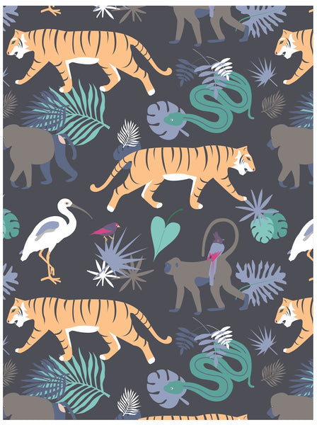 Jungle wrapping paper with tigers and snakes by Revel & Co.