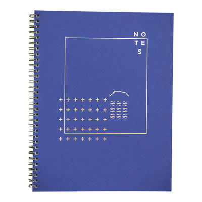 Larkspur blue wire bound notebook with modern copper foil design by Revel Paper
