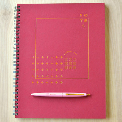 Revel Paper Crimson notebook and pen. Revel Paper for the modern desk