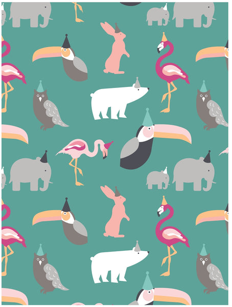 Party animals children's wrapping paper by Revel & Co.